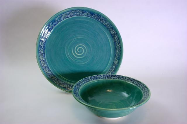 Carved Bowl and Platter